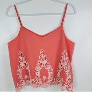 Pink cami embroidered lace detailing fully lined